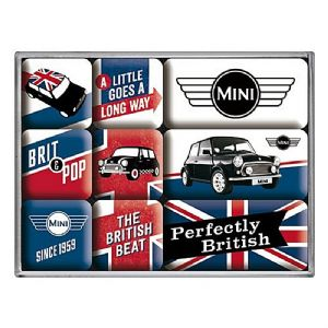 Mini Union Jack set of 9 mini fridge magnets in box (na)